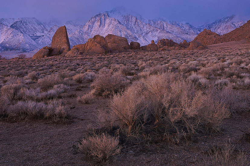 Expectancy of the Sunrise. Sail Rock and Eastern Sierra before sunrise. Alabama Hills & Eastern Sierra, California, USA. - Alabama-Hills-Eastern-Sierra - Mike Reyfman Photography