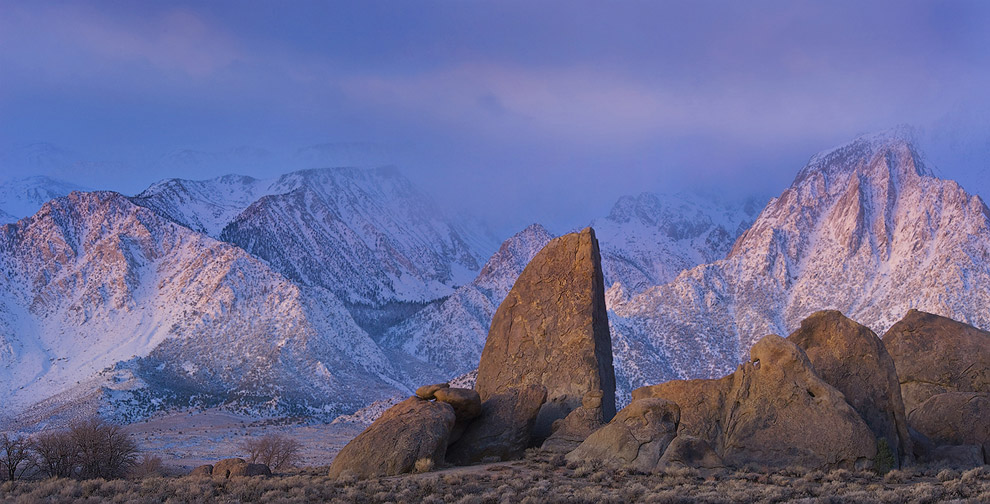 Sail Rock and Eastern Sierra at the first light. Alabama Hills near Lone Pine. Eastern Sierra, California, USA. - Alabama-Hills-Eastern-Sierra - Mike Reyfman Photography