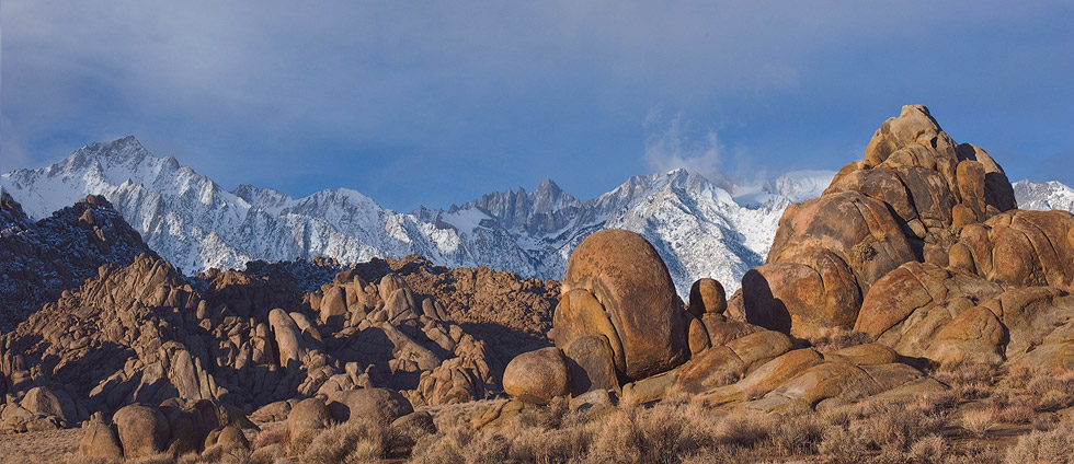 Lone Pine Peak, Mount Whitney and Alabama Hills boulders. Alabama Hills near Lone Pine. Eastern Sierra, California, USA. - Alabama-Hills-Eastern-Sierra - Mike Reyfman Photography