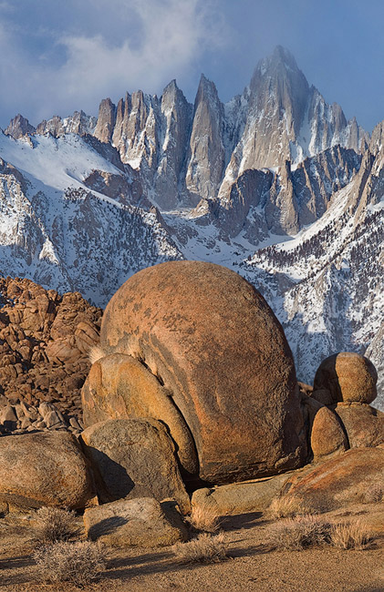 Mount Whitney - the highest peak In the contiguous United States, and Alabama Hills boulders. Alabama Hills, California, USA. - Alabama-Hills-Eastern-Sierra - Mike Reyfman Photography