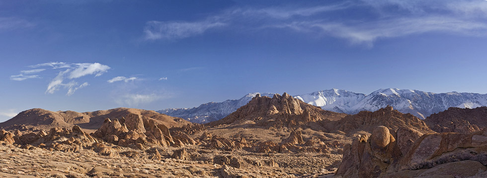 Panoramic view of Alabama Hills, Owens Valley and Inyo Mountain Range. Alabama Hills, Eastern Sierra, California, USA. - Alabama-Hills-Eastern-Sierra - Mike Reyfman Photography