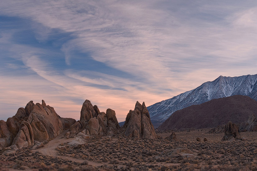 Showdown. Audey Murphy galloped here in Showdown movie (1963, Universal - International). Alabama Hills, Eastern Sierra, California, USA.