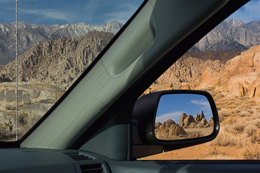 Back in the Saddle. Alabama Hills seen in a Jeep Cherokee mirror. Alabama Hills near Lone Pine. Eastern Sierra, California, USA. - Alabama-Hills-Eastern-Sierra - Mike Reyfman Photography