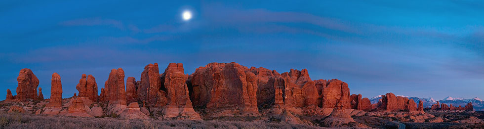 Parade of Elephants. Panoramic View at Dusk. Arches National Park, Utah, USA - Arches-National-Park-Utah-USA - Mike Reyfman Photography