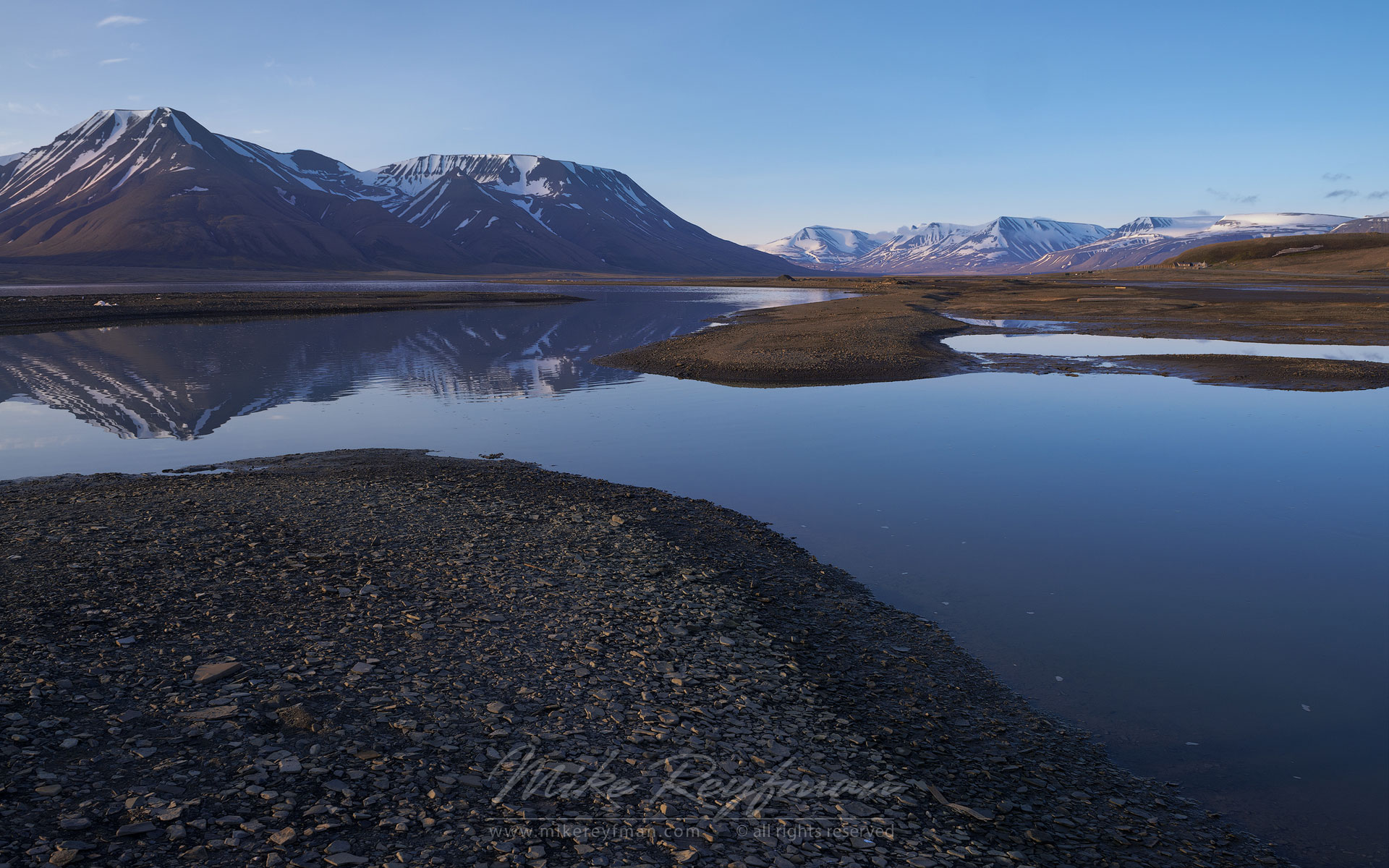Adventfjorden (Advent Bay) near Longyearbyen. Adventfjorden, Spitsbergen, Svalbard, Norway. - Arctic-Landscape-Svalbard-Spitsbergen-Norway - Mike Reyfman Photography