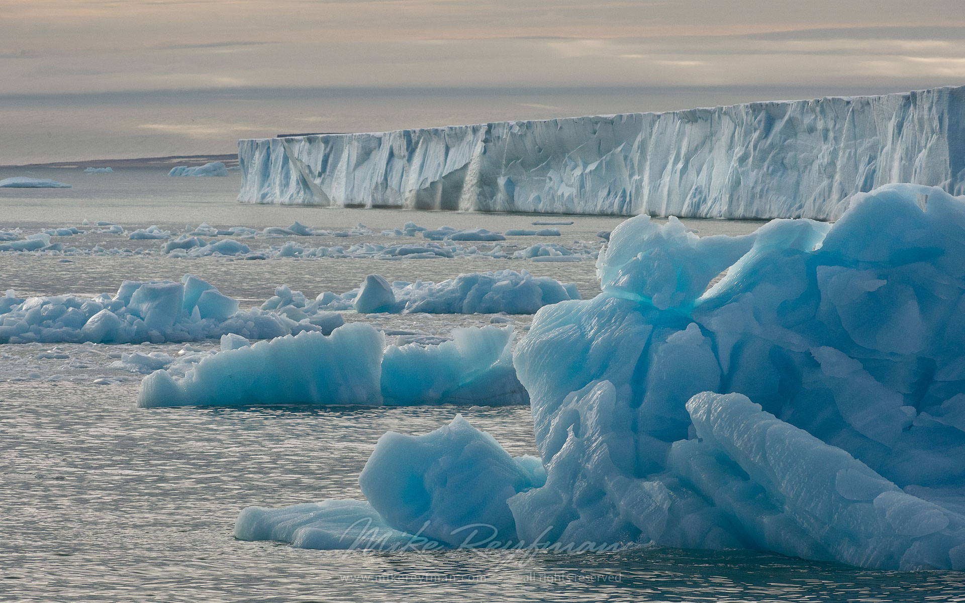 Icebergs with Austfonna Glacier on the background. Austfonna Ice Cap, Nordaustlandet Island, Svalbard (Spitsbergen) Archipelago, Norway. - Arctic-Landscape-Svalbard-Spitsbergen-Norway - Mike Reyfman Photography
