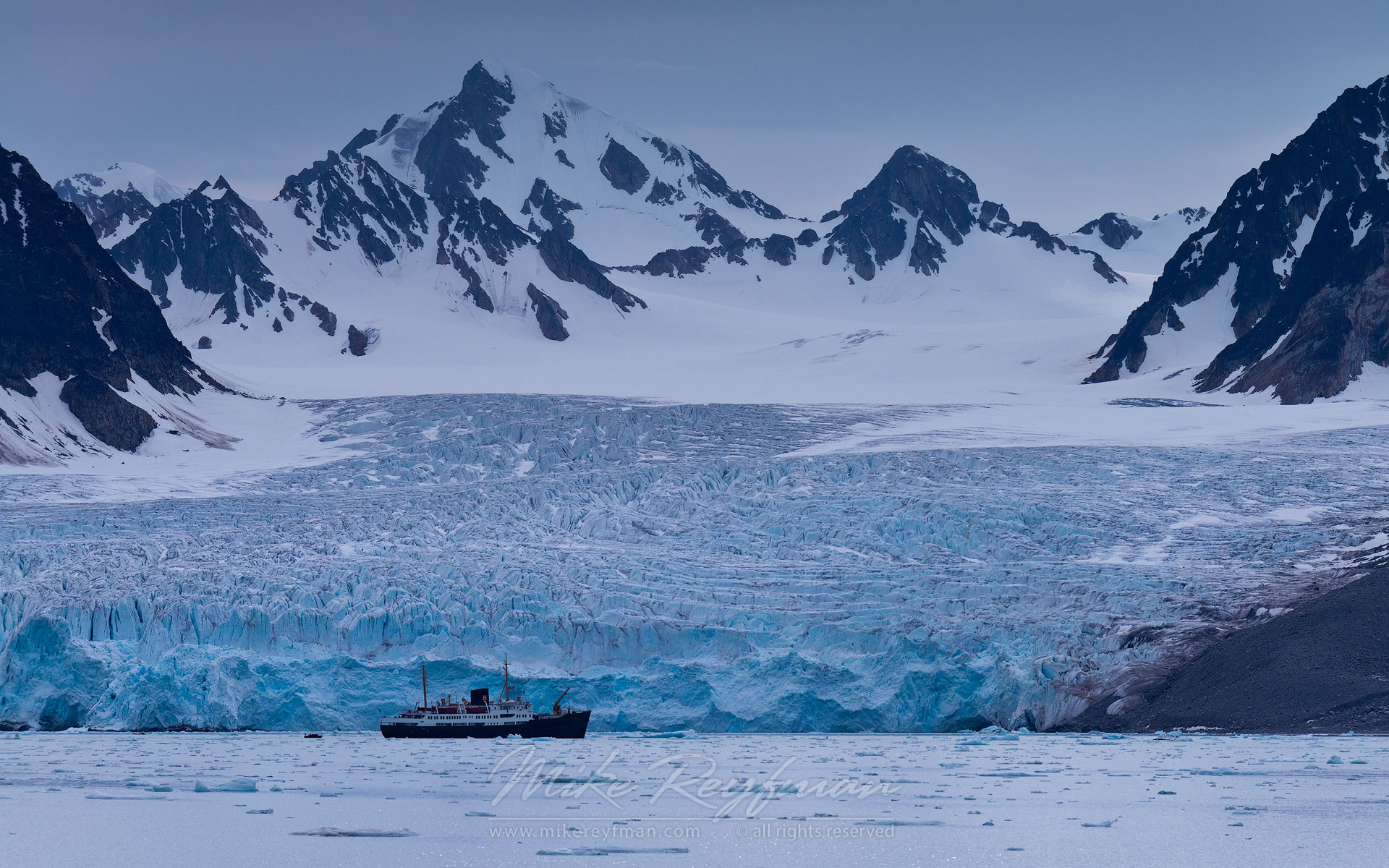 Expedition boat in-front of Monaco Glacier. Liefdefjorden (Love-fjord), Svalbard (Spitsbergen) Archipelago, Norway. - Arctic-Landscape-Svalbard-Spitsbergen-Norway - Mike Reyfman Photography