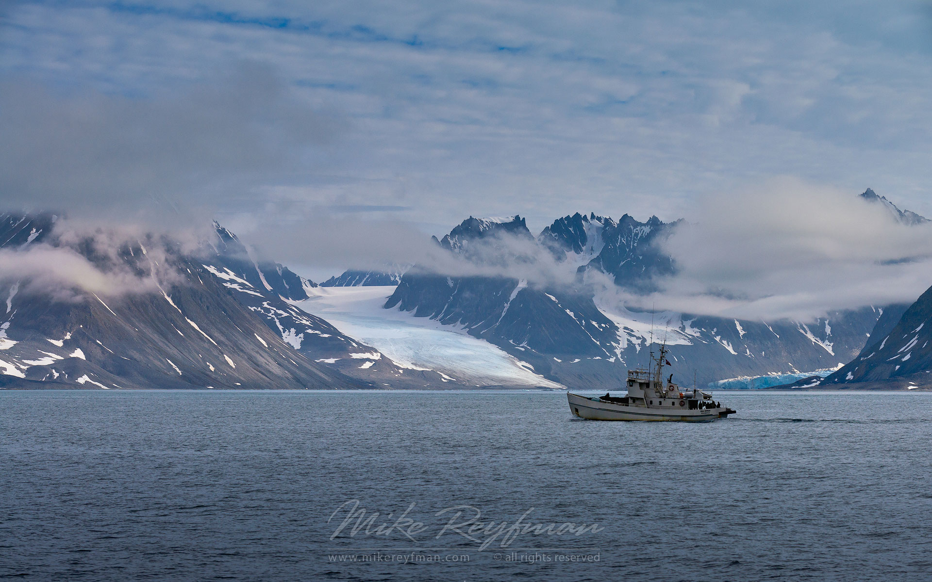 Boat, Glaciers and Mountains. Svalbard (Spitsbergen) Archipelago, Norway. - Arctic-Landscape-Svalbard-Spitsbergen-Norway - Mike Reyfman Photography