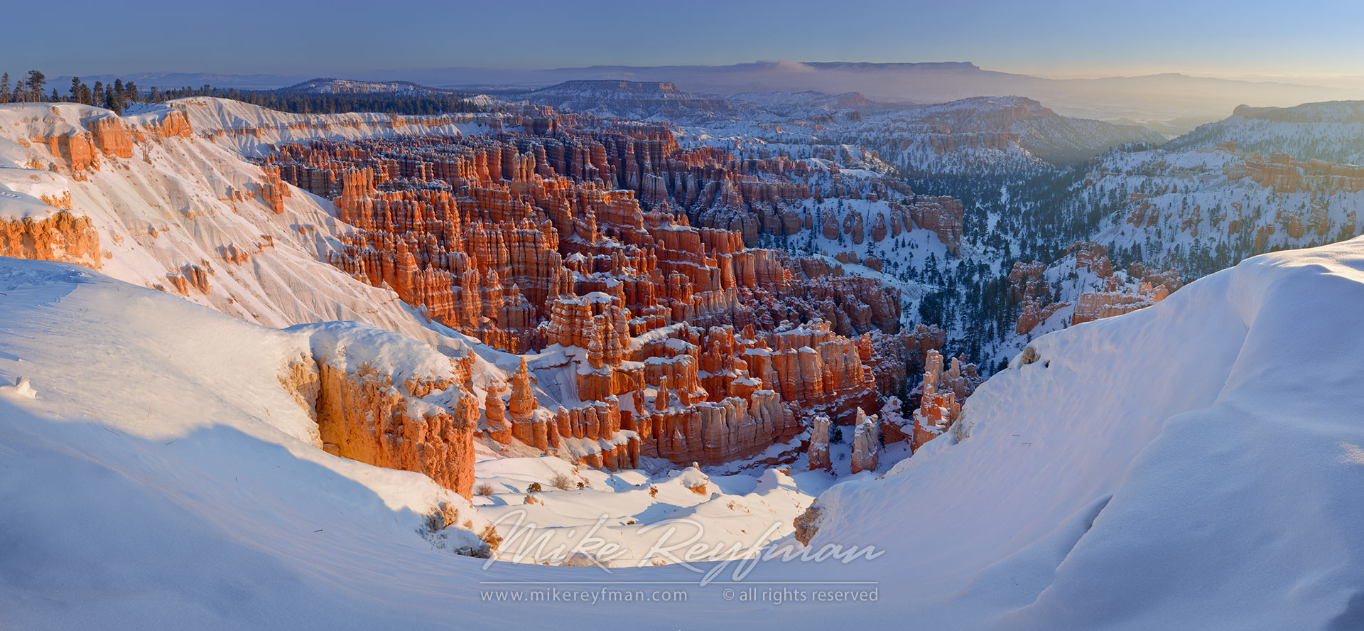 Panoramic View from Inspiration Point at sunrise. Bryce Canyon National Park, Utah, USA. - Bryce-Canyon-National-Park-Utah-USA - Mike Reyfman Photography