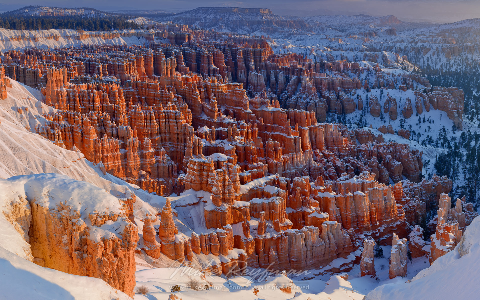 View from Inspiration Point at sunrise. Bryce Canyon National Park, Utah, USA. - Bryce-Canyon-National-Park-Utah-USA - Mike Reyfman Photography