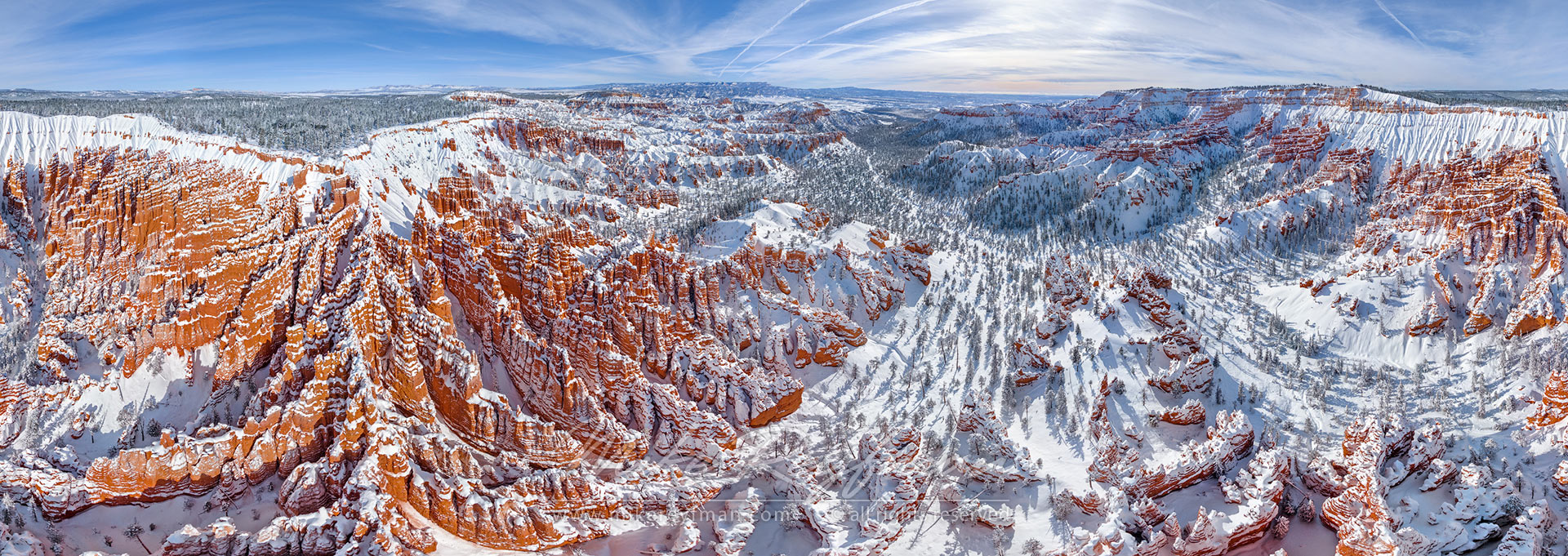 Winter Fairy-Tails. 360 degree aerial panoramic view of Bryce Canyon National Park, Utah, USA. - Bryce-Canyon-National-Park-Utah-USA - Mike Reyfman Photography