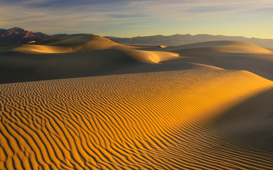 Mesquite Flats Sunrise. Mesquite Flats Sand Dunes and Amargosa Range, Stovepipe Wells, Death Valley, California. - Death-Valley-National-Park-California-USA - Mike Reyfman Photography