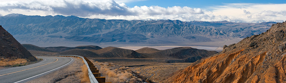 View toward Panamint Valley from California State Route 190. Death Valley National Park, California, USA.
