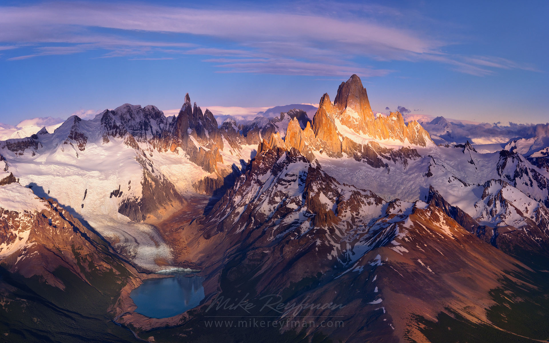 Looking for new angles. Lago Torre, Cerro Torre and Mount Fitzroy massifs. Andes, Parque Nacional Los Glaciares, Patagonia, Argentina. Panoramic aerial capture. - Fitzroy-Cerro-Torre-Perito-Moreno-Patagonia-Argentina - Mike Reyfman Photography