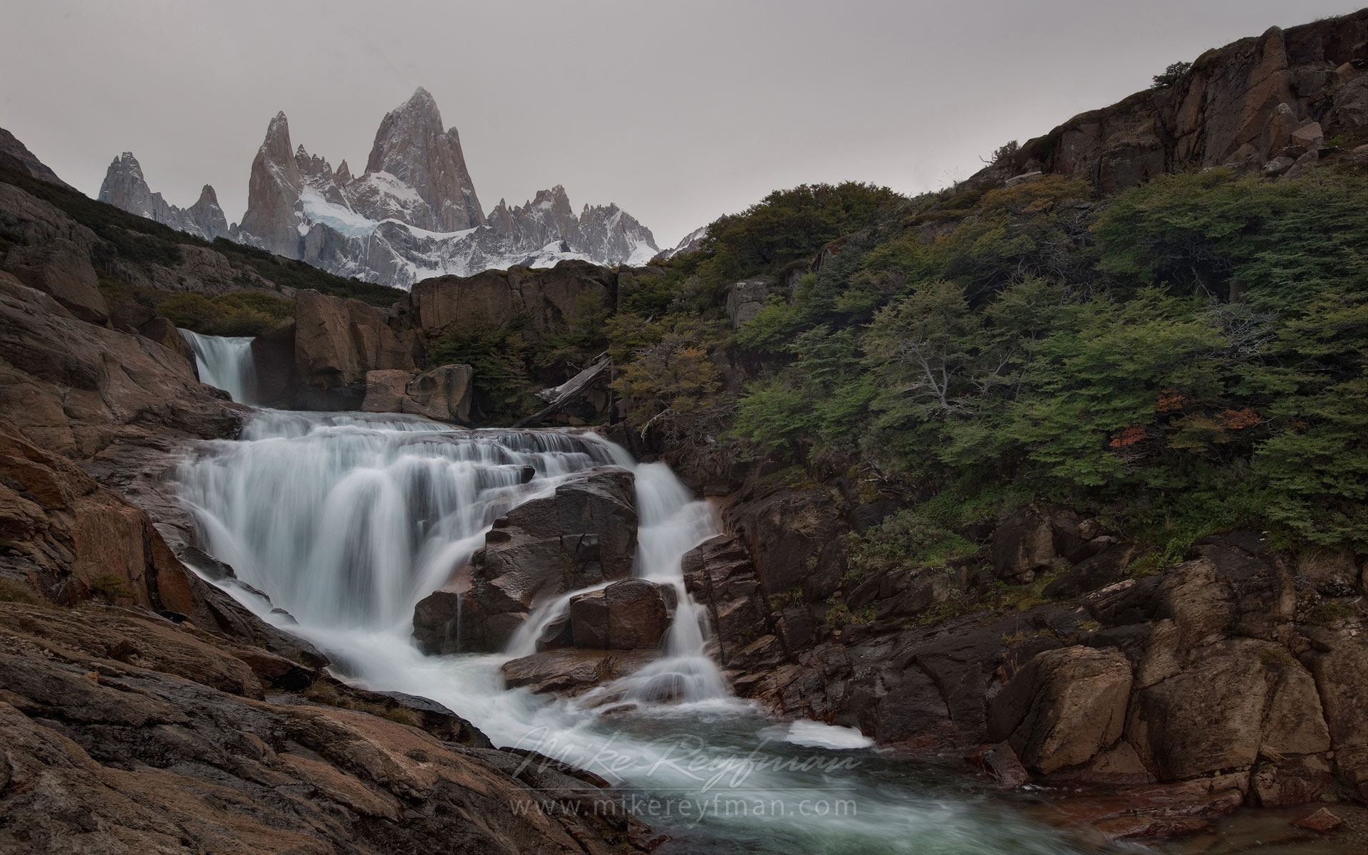 Gray Day. Waterfall on the Arroyo Del Salto River below Mount Fitzroy. Los Glaciares National Park, Patagonia, Argentina. - Fitzroy-Cerro-Torre-Perito-Moreno-Patagonia-Argentina - Mike Reyfman Photography