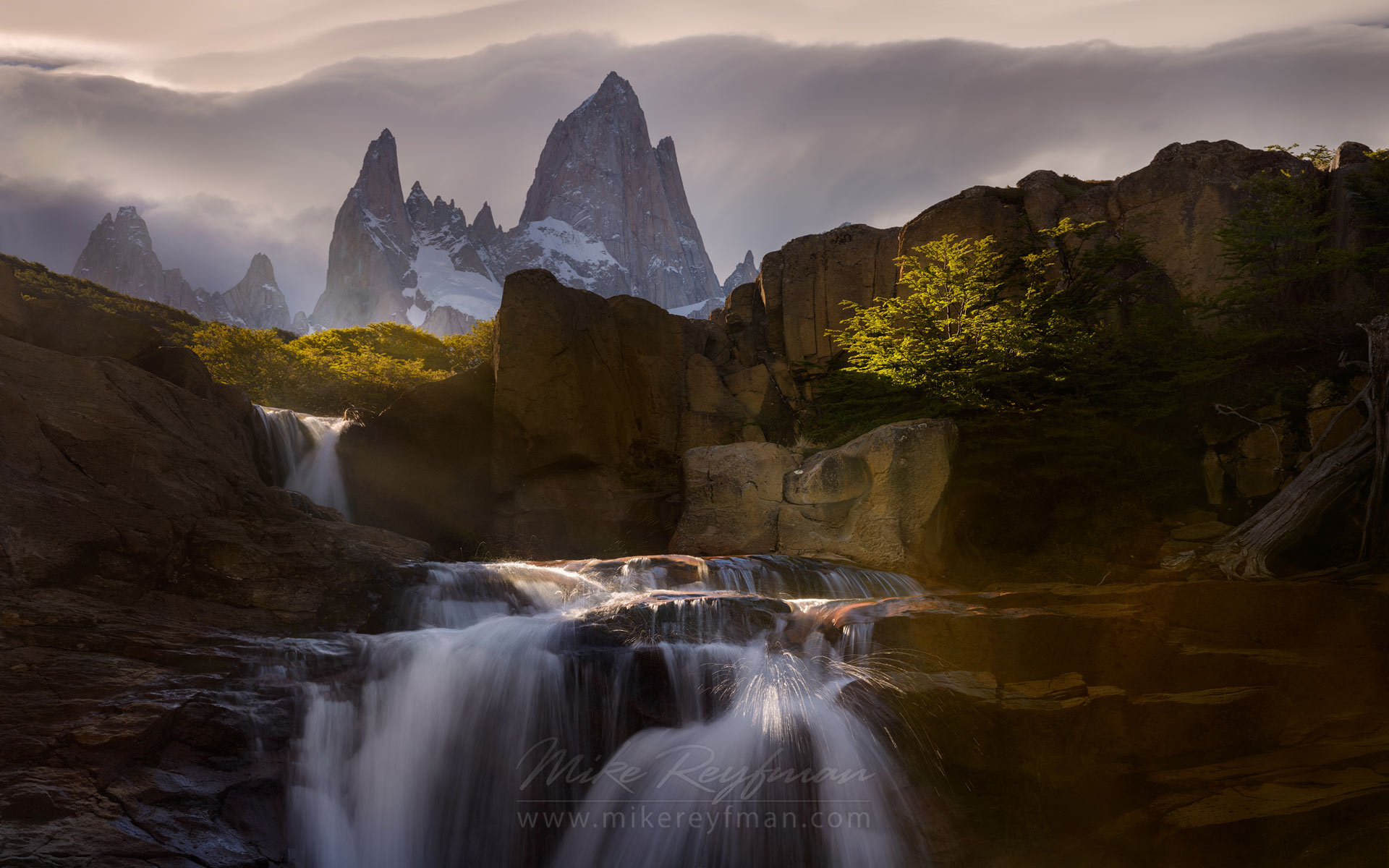 Light & Water Show. Waterfall on the Arroyo Del Salto River below Mount Fitzroy. Los Glaciares National Park, Patagonia, Argentina.   - Fitzroy-Cerro-Torre-Perito-Moreno-Patagonia-Argentina - Mike Reyfman Photography