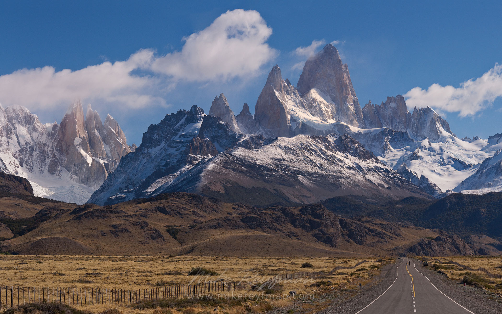 Road to the Mountains. Fitzroy and Cerro Torre Massifs from Ruta 40. Santa Cruz, Patagonia, Argentina.  - Fitzroy-Cerro-Torre-Perito-Moreno-Patagonia-Argentina - Mike Reyfman Photography