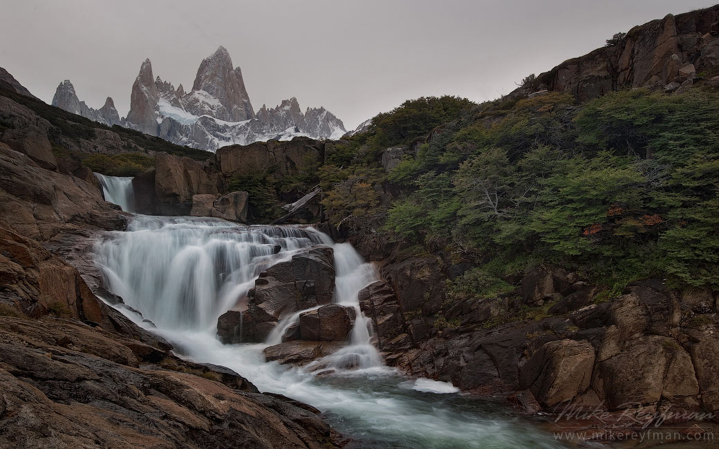 Gray Day. Waterfall on the Arroyo Del Salto River below Mount Fitzroy. Los Glaciares National Park, Patagonia, Argentina.