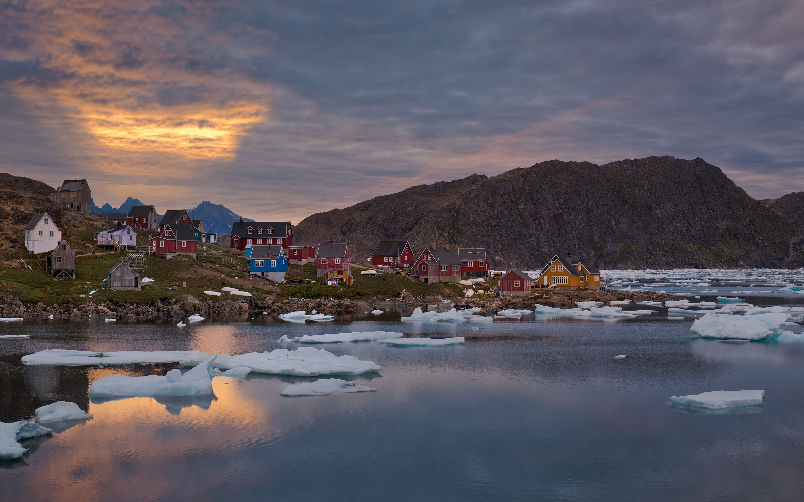 Muted sunset over settlement of Kulusuk. Torsuut Tunoq sound, Southeastern Greenland. - Greenland-Iceberg-Factory-1 - Mike Reyfman Photography