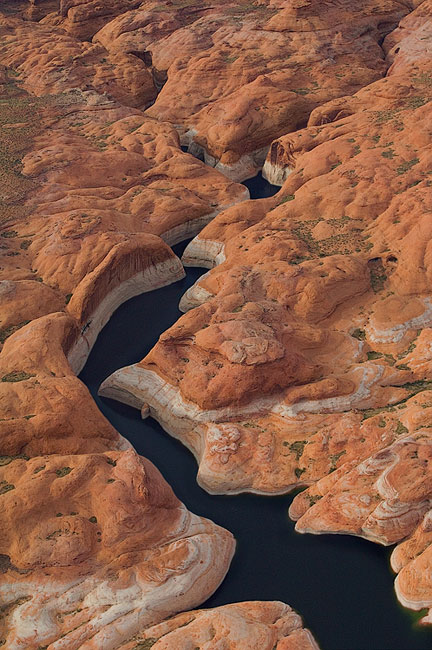 Driftwood Canyon. Glen Canyon NRA, Lake Powell, Utah/Arizona, US. Aerial. - Lake-Powell-Aerial-Abstracts-Arizona-USA - Mike Reyfman Photography