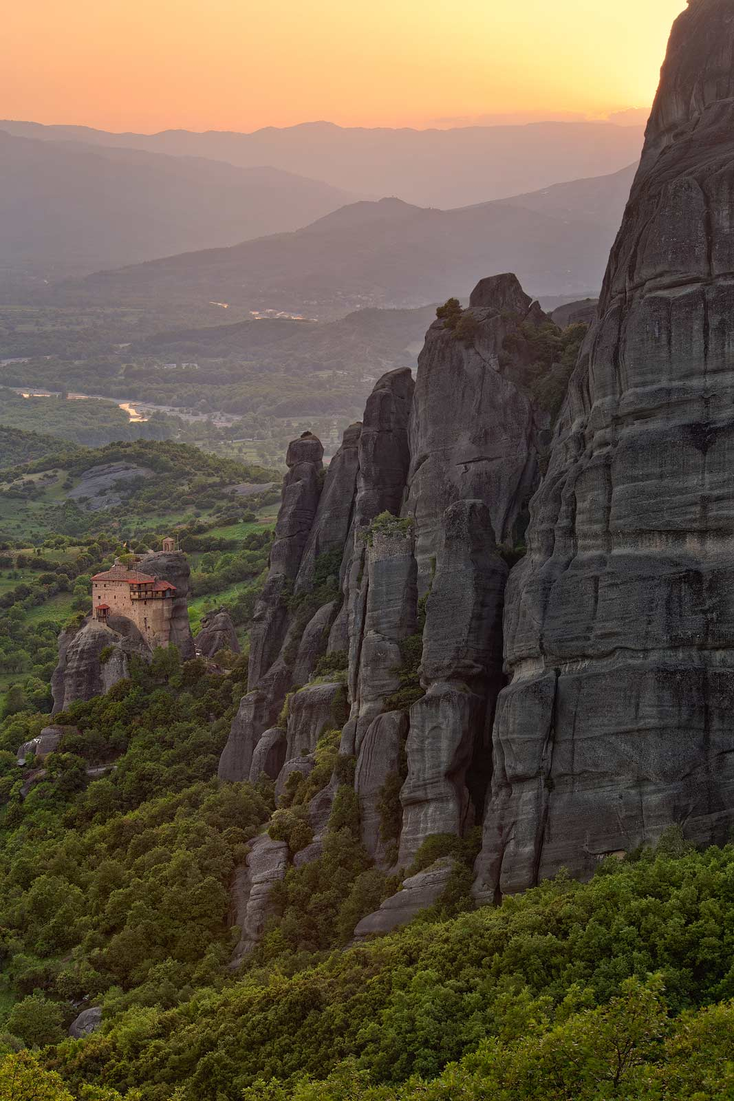 Holy Monastery of St. Nicholas Anapafsas, the smallest monastery at Meteora at sunset. Meteora, Thessaly, Greece - Meteora-Monasteries-Greece - Mike Reyfman Photography