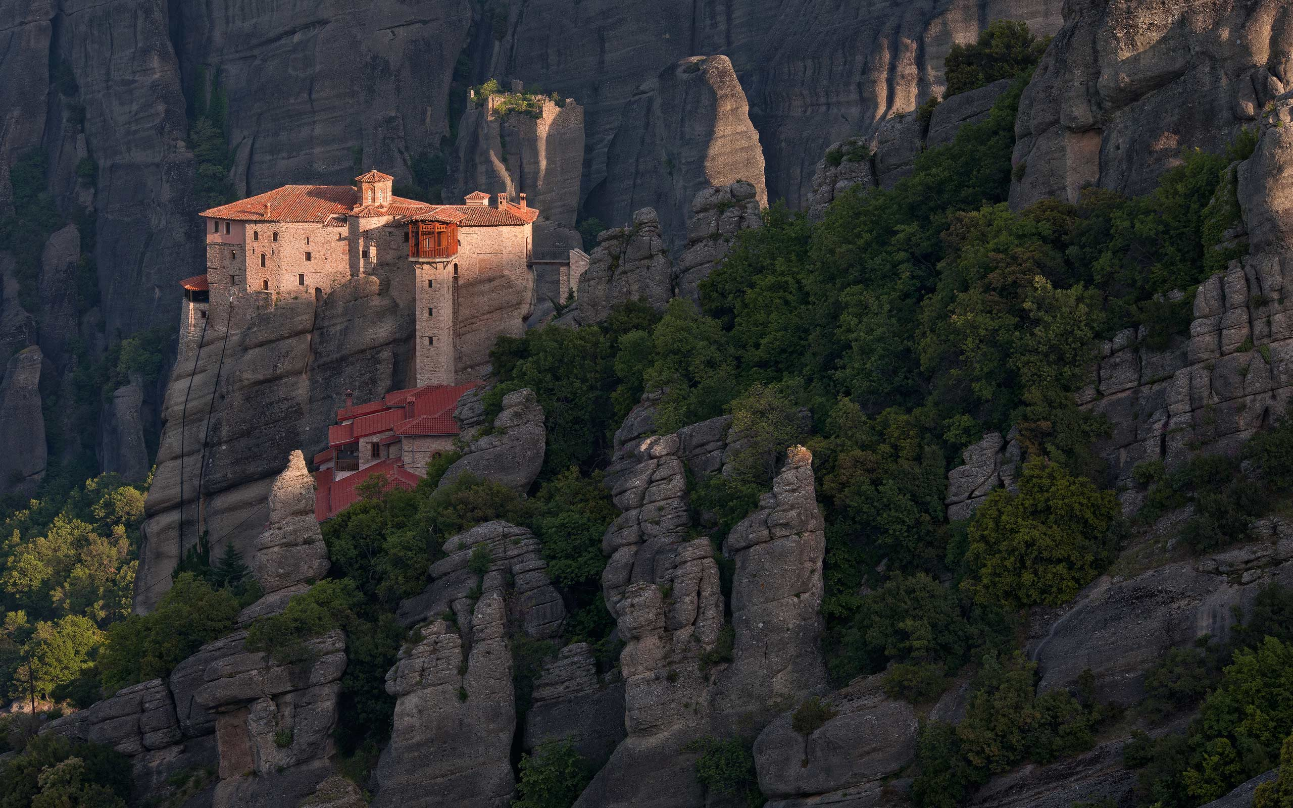 Roussanou Nunnery at sunrise.  Meteora, Thessaly, Greece - Meteora-Monasteries-Greece - Mike Reyfman Photography