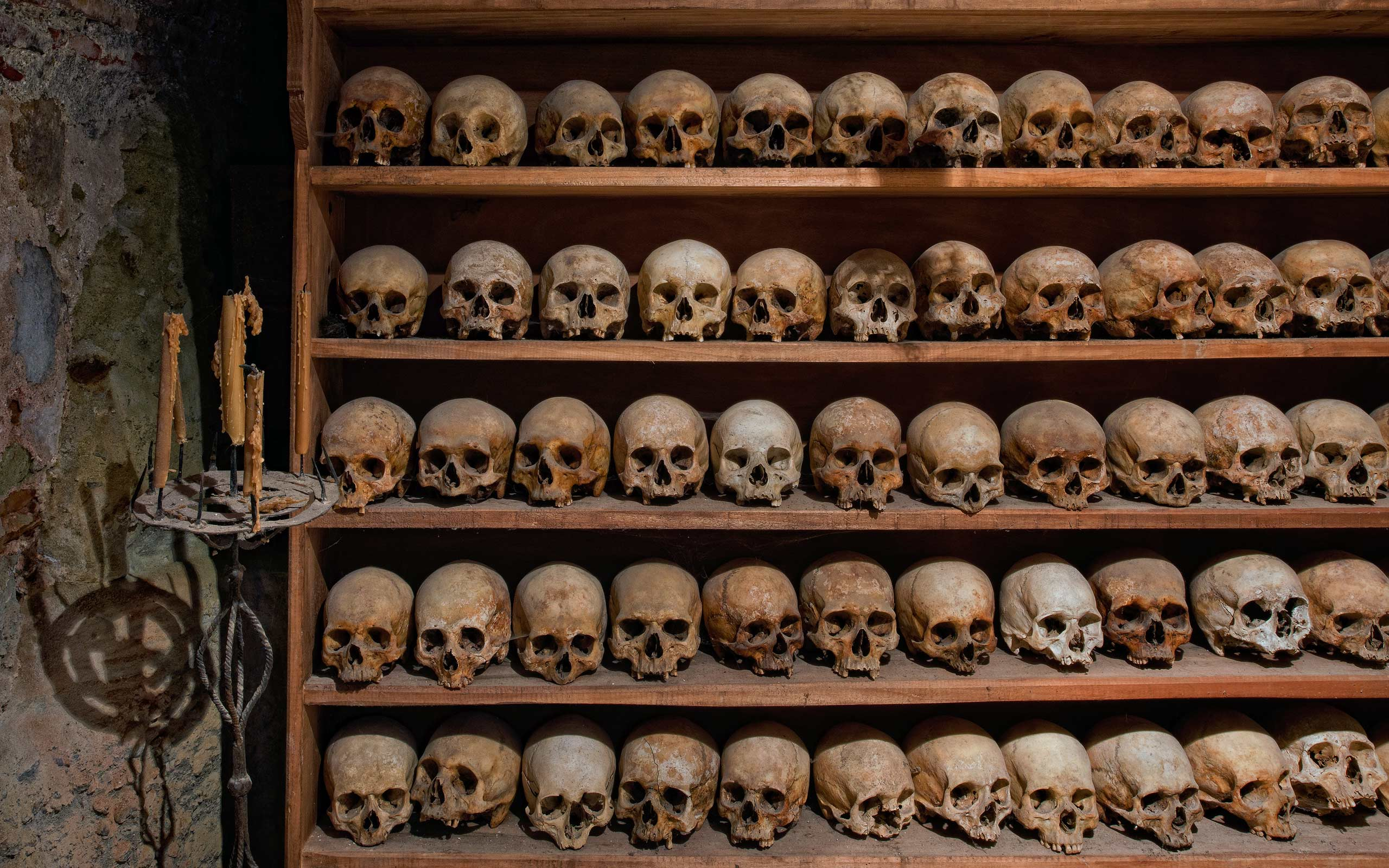 Skulls of old monks who lived in the monastery. The Holy Monastery of Great Meteoron, Meteora, Thessaly,Greece. - Meteora-Monasteries-Greece - Mike Reyfman Photography