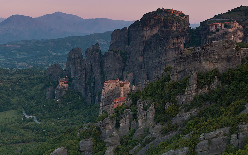 Monasteries of Meteora  at dawn. Thessaly, Greece