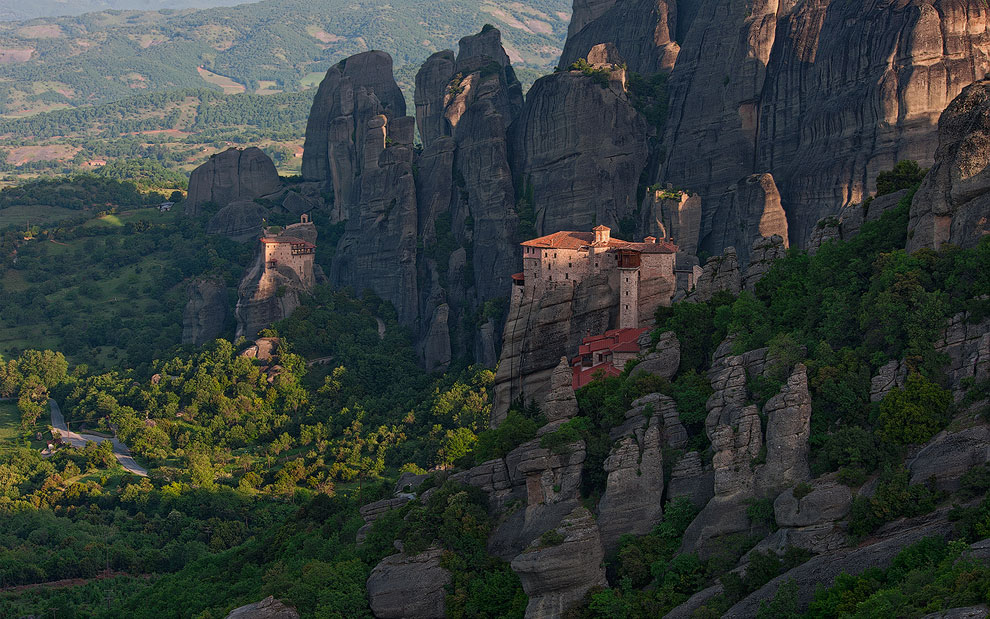 Roussanou Nunnery and St. Nicholas Anapafsas Monasteriy at sunrise. Meteora, Thessaly, Greece