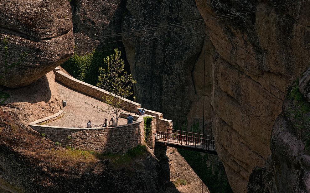 Entrance bridge to Varlaam Monastery. Meteora, Thessaly, Greece