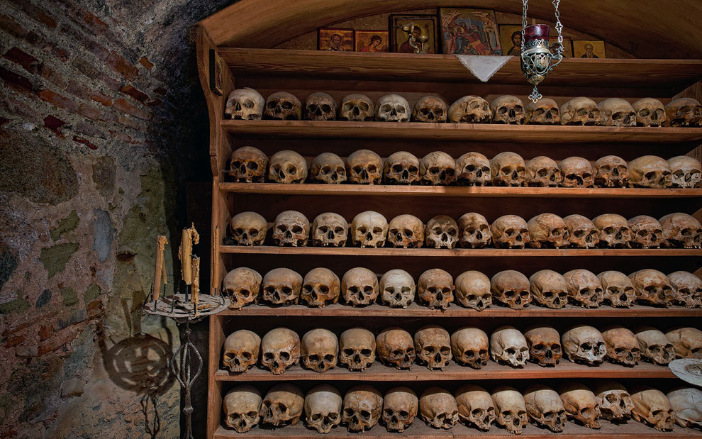 The Ossuary at Great Meteoron Monastery. Meteora, Thessaly, Greece