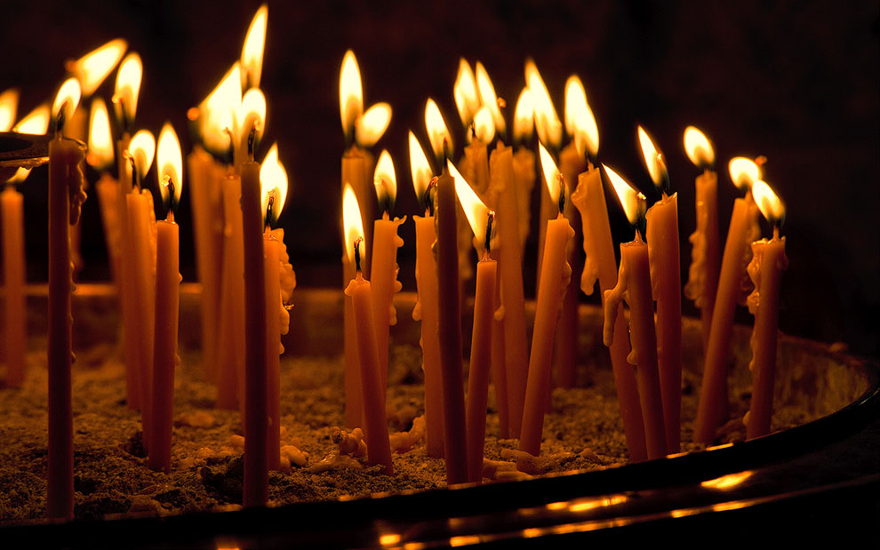 Candles. The Holy Monastery of Great Meteoron, Meteora, Thessaly, Greece