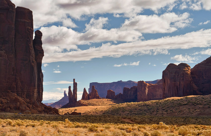 View of Totem Pole and Yei-Bi-Chei from Rain God Mesa. Monument Valley, Arizona, USA. - Monument-Valley-Agathla-Peak-El-Capitan-Owl-Church-Rock - Mike Reyfman Photography