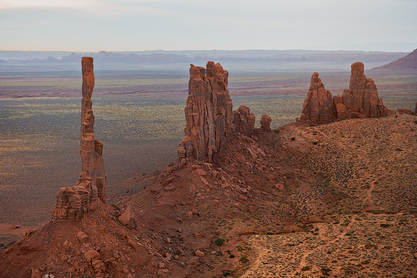 Aerial view of Totem Pole and Yei-Bi-Chei at dawn. Monument Valley, Arizona, USA. - Monument-Valley-Agathla-Peak-El-Capitan-Owl-Church-Rock - Mike Reyfman Photography