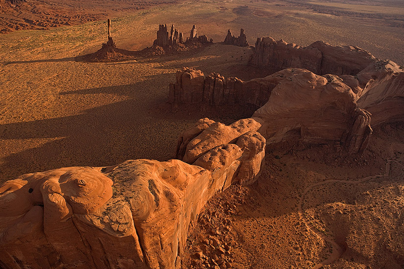 The veins of the Earth. Aerial view of Totem Pole and Yei-Bi-Chei. Monument Valley, Arizona, USA.