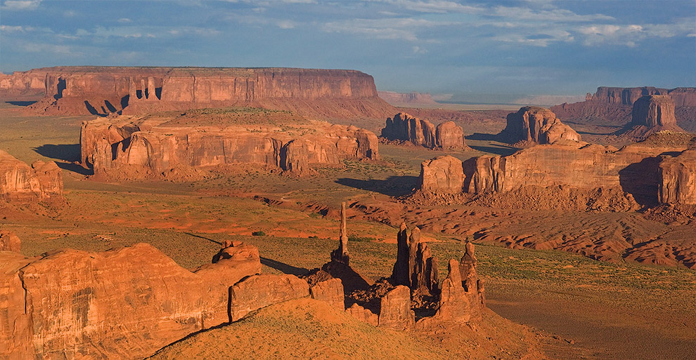Aerial view of Totem Pole, Yei-Bi-Chei and Three Sisters. Monument Valley, Arizona, USA. - Monument-Valley-Agathla-Peak-El-Capitan-Owl-Church-Rock - Mike Reyfman Photography