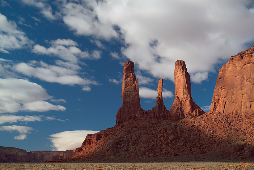 Three Sisters from John Ford's Point. Monument Valley, Arizona, USA. - Monument-Valley-Agathla-Peak-El-Capitan-Owl-Church-Rock - Mike Reyfman Photography