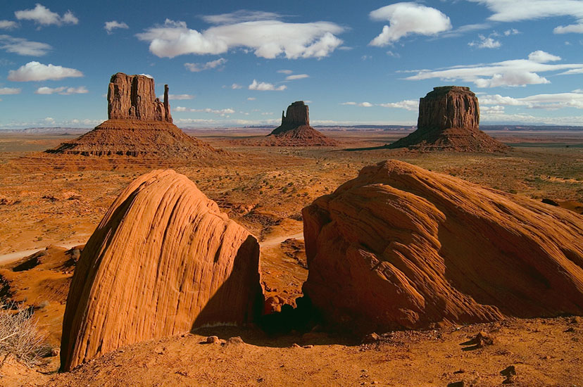 Classic view of West and East Mittens and Merrick Butte from visitor center. Monument Valley, Arizona, USA. - Monument-Valley-Agathla-Peak-El-Capitan-Owl-Church-Rock - Mike Reyfman Photography