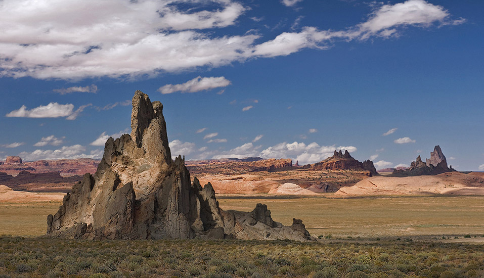 Church Rock with Agathla Peak (El Capitan) on the background. HW 160 and Indian Route 59, Arizona, USA. - Monument-Valley-Agathla-Peak-El-Capitan-Owl-Church-Rock - Mike Reyfman Photography