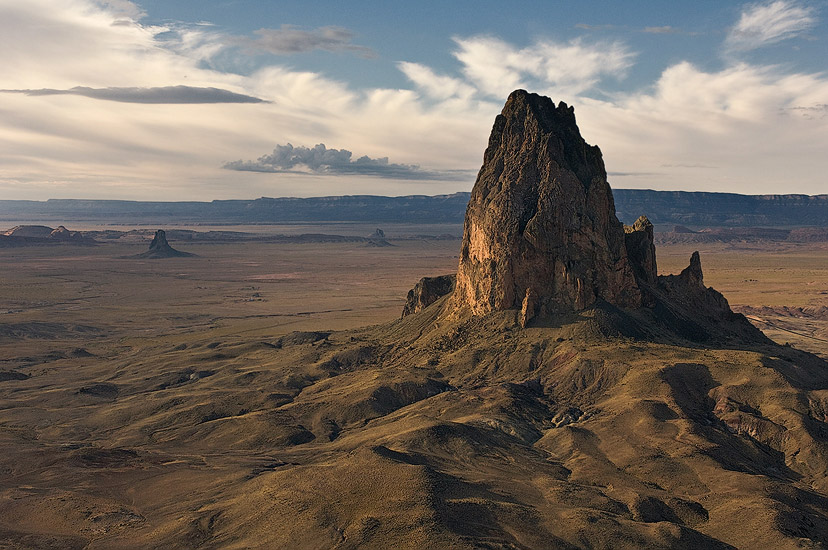 The Amber Chronicles Series. Aerial view of Agathla Peak (El Capitan), Arizona, USA. - Monument-Valley-Agathla-Peak-El-Capitan-Owl-Church-Rock - Mike Reyfman Photography