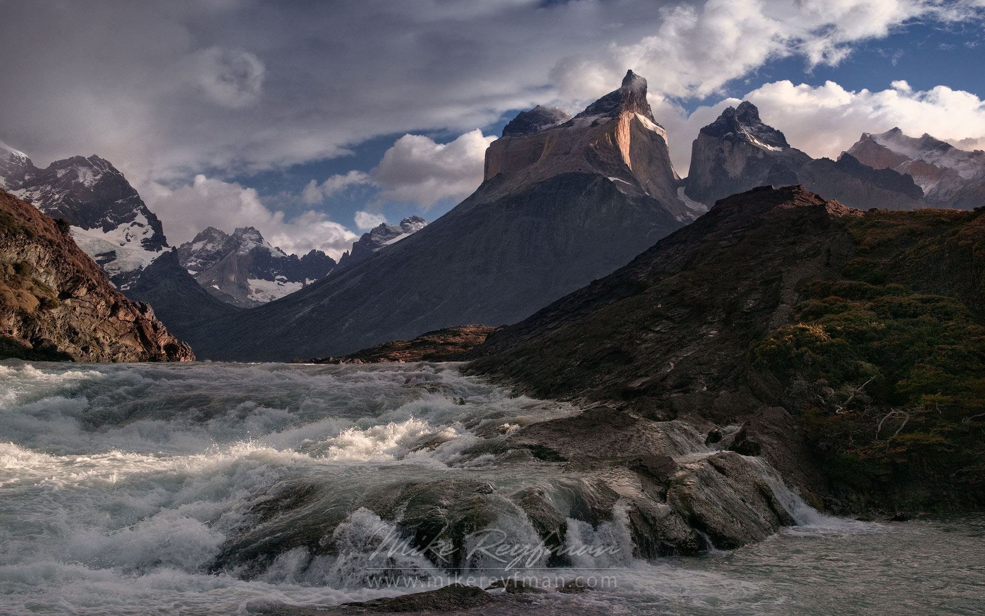 Rio Paine rapids and Cuernos del Paine. Torres del Paine National Park, Ultima Esperanza Province, Magallanes and Antartica Chilena Region XII, Patagonia, Chile. - Torres-Del-Paine-National-Park-Patagonia-Chile - Mike Reyfman Photography