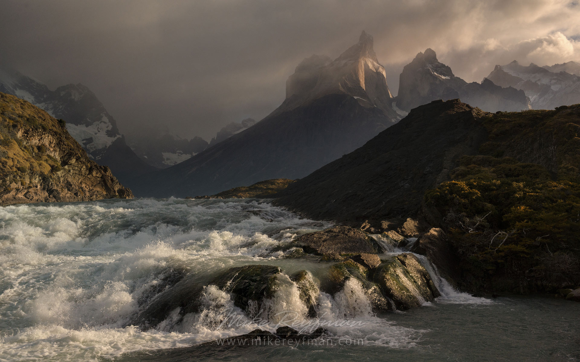 Stormy morning in Cordilleras. Rio Paine rapids and Cuernos del Paine. Torres del Paine National Park, Magallanes and Antartica Chilena Region XII, Patagonia, Chile. - Torres-Del-Paine-National-Park-Patagonia-Chile - Mike Reyfman Photography