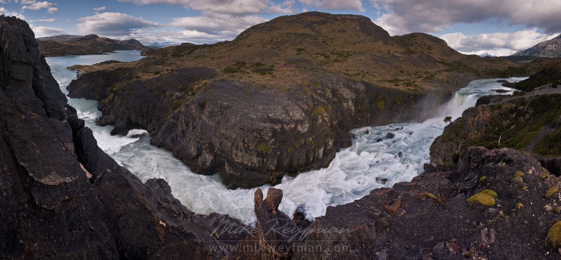 Salto Grande falls and Rio Paine rapids between Lago Pehoe and Lago Nordenskjold. Panoramic. Torres del Paine National Park, Magallanes and Antartica Chilena Region XII, Patagonia, Chile. - Torres-Del-Paine-National-Park-Patagonia-Chile - Mike Reyfman Photography