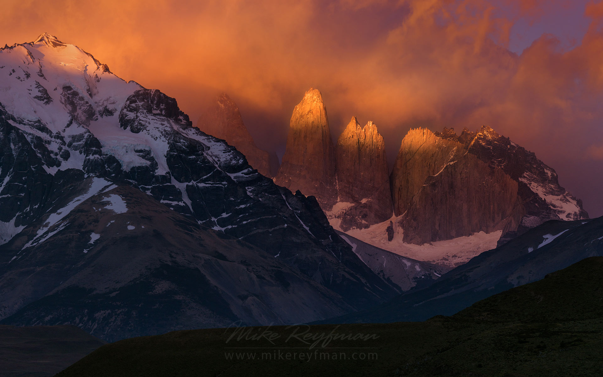 Towers of Pine. Cordillera del Paine. Torres del Paine National Park, Ultima Esperanza Province, Magallanes and Antartica Chilena Region XII, Patagonia, Chile. - Torres-Del-Paine-National-Park-Patagonia-Chile - Mike Reyfman Photography