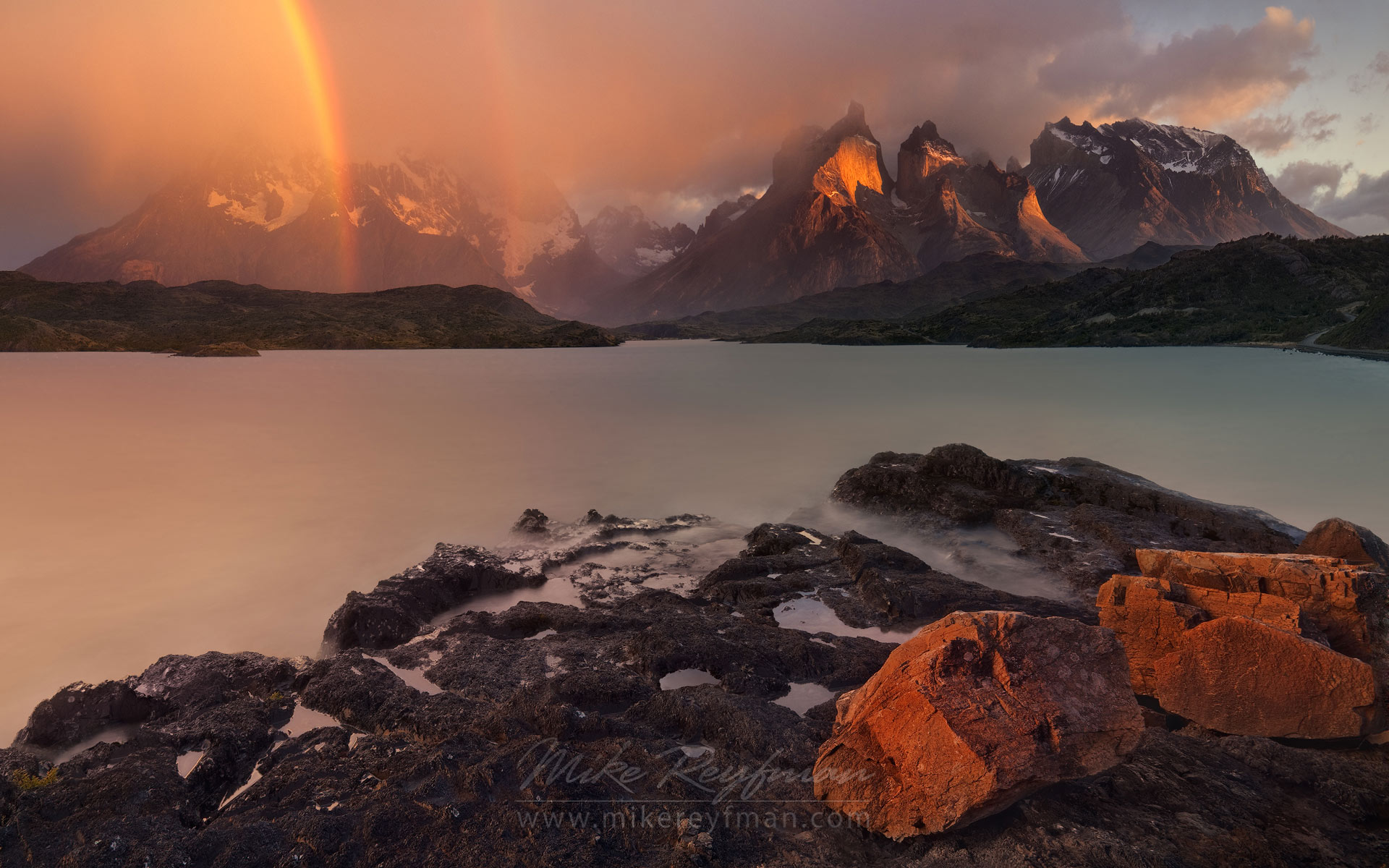 Cordillera del Paine and Rainbow. Lago Pehoe, Torres del Paine National Park, Ultima Esperanza Province, Magallanes and Antartica Chilena Region XII, Patagonia, Chile. - Torres-Del-Paine-National-Park-Patagonia-Chile - Mike Reyfman Photography