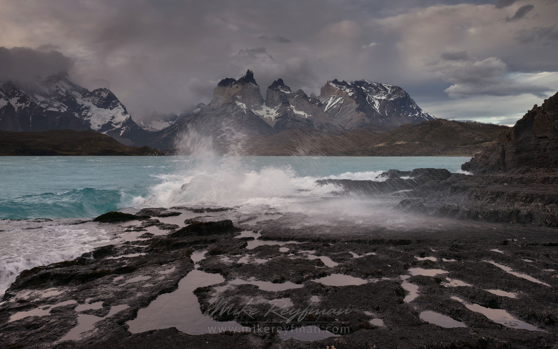 Storm on Lago Pehoe. Cordillera del Paine. Torres del Paine National Park, Ultima Esperanza Province, Magallanes and Antartica Chilena Region XII, Patagonia, Chile. - Torres-Del-Paine-National-Park-Patagonia-Chile - Mike Reyfman Photography