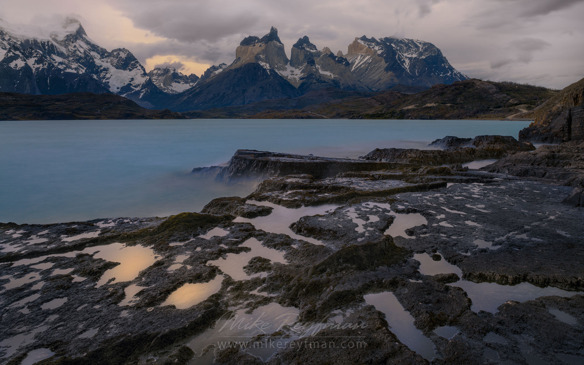Grey day on Lago Pehoe. Cordillera del Paine, Torres del Paine National Park, Ultima Esperanza Province, Magallanes and Antartica Chilena Region XII, Patagonia, Chile.  - Torres-Del-Paine-National-Park-Patagonia-Chile - Mike Reyfman Photography