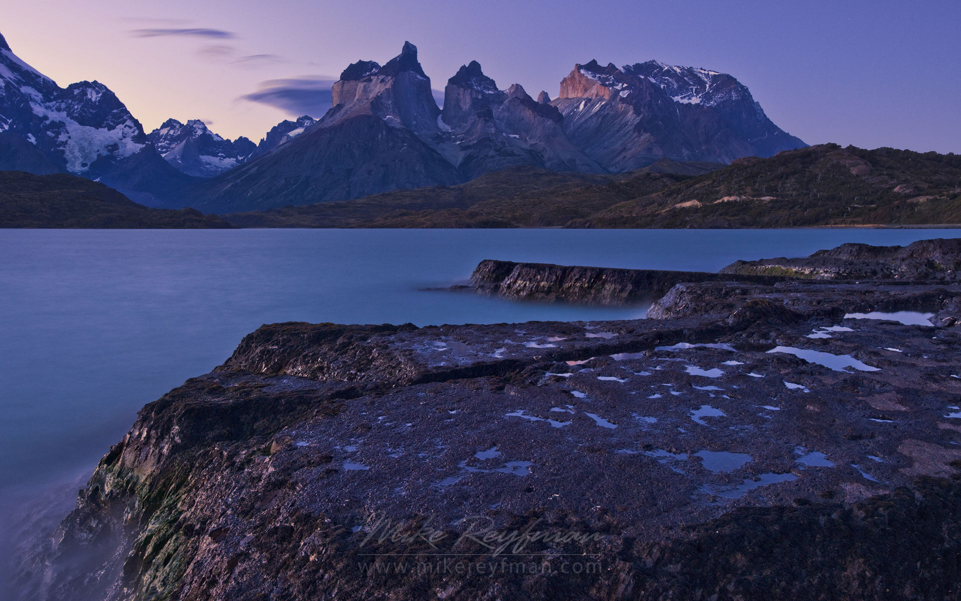 Lago Pehoe and Cuernos del Paine, Torres del Paine National Park, Ultima Esperanza Province, Magallanes and Antartica Chilena Region XII, Patagonia, Chile. - Torres-Del-Paine-National-Park-Patagonia-Chile - Mike Reyfman Photography