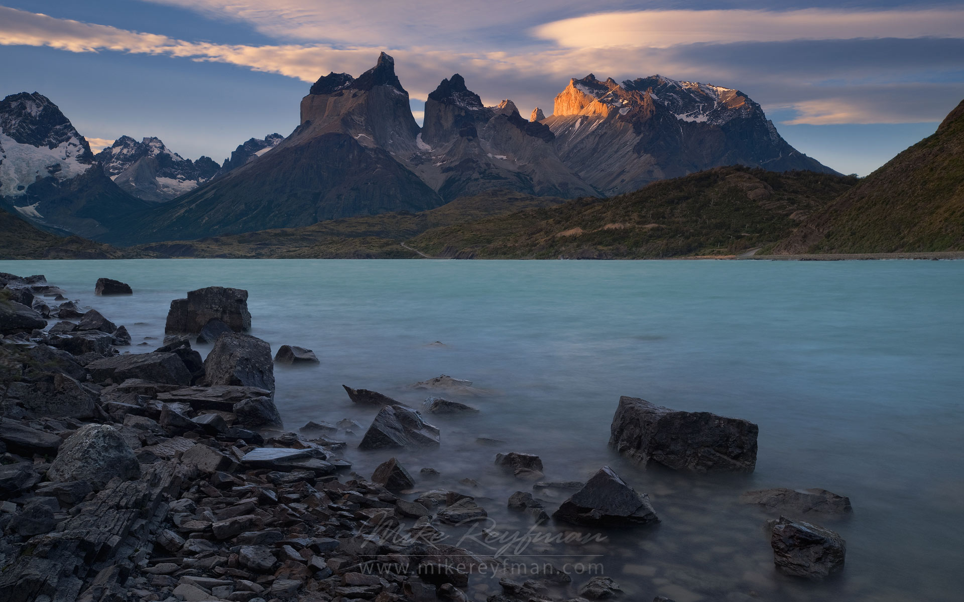 Last light on Cuernos del Paine. Torres del Paine National Park, Ultima Esperanza Province, Magallanes and Antartica Chilena Region XII, Patagonia, Chile. - Torres-Del-Paine-National-Park-Patagonia-Chile - Mike Reyfman Photography