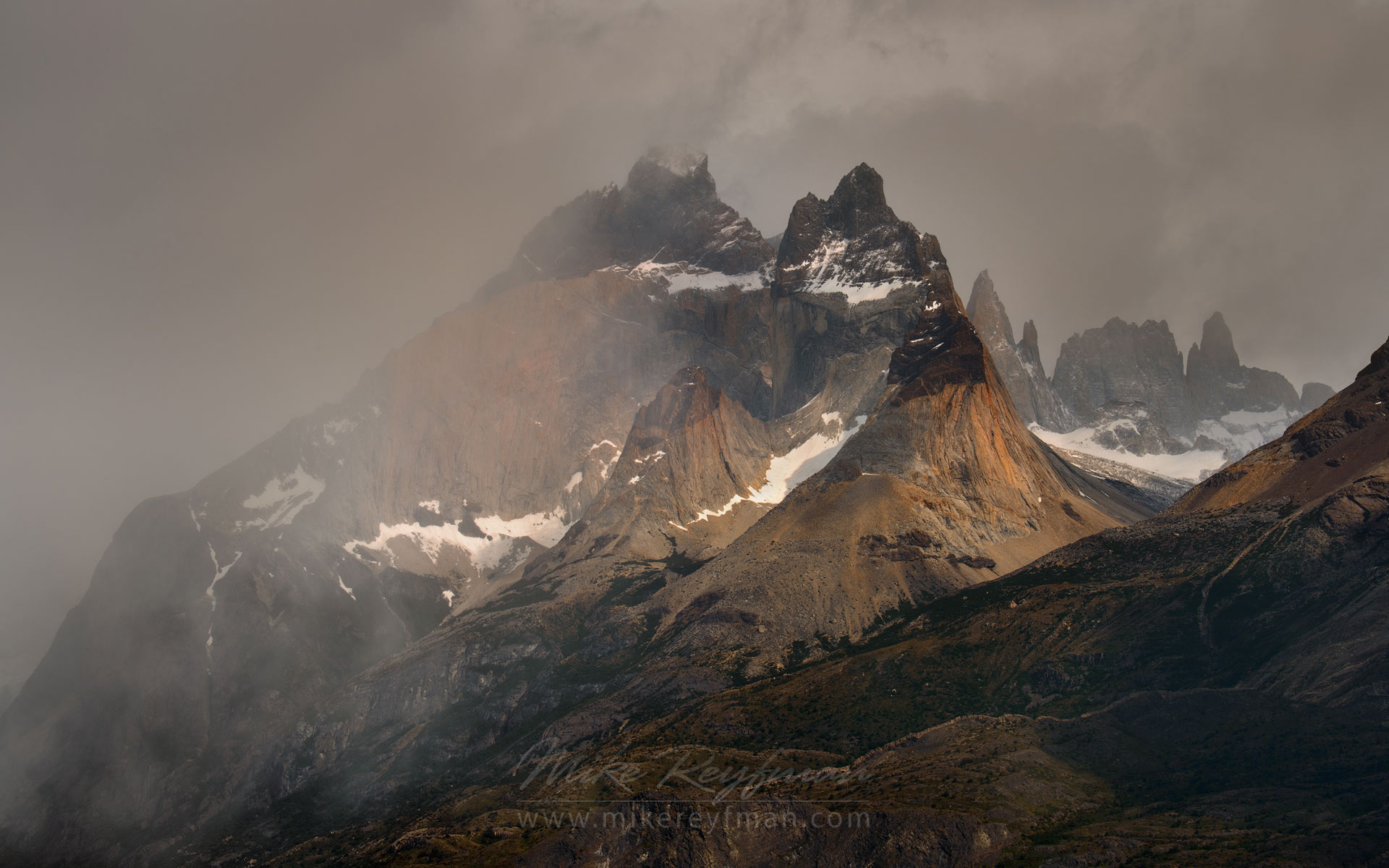 Typical Patagonian weather. Cordillera del Paine. Torres del Paine National Park, Magallanes and Antartica Chilena Region XII, Patagonia, Chile. - Torres-Del-Paine-National-Park-Patagonia-Chile - Mike Reyfman Photography